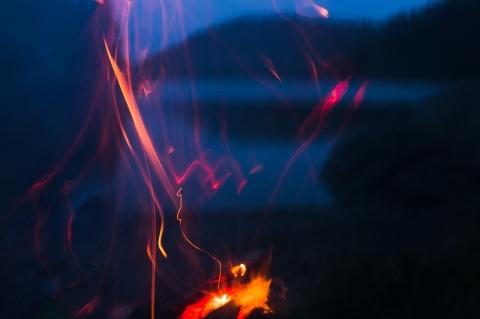 eld på stranden